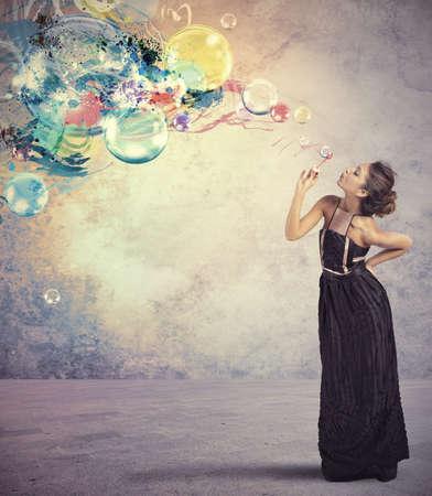 Creative fashion girl with soap ball