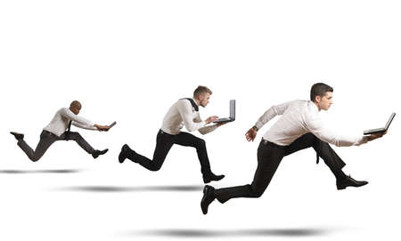 speed race: Competition in business concept with running businesspeople