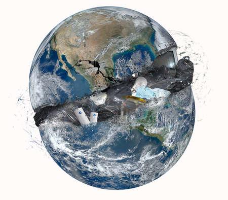 Concept van het huisvuil met geopende wereld. Stockfoto