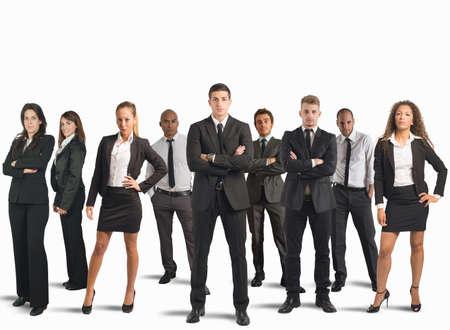 företag: Begreppet företag team med affärsman och affärskvinna