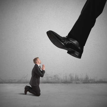 heaviness: Concept of businessman fired by the boss