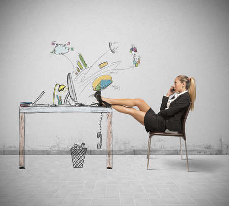 Concept of relax of a businesswoman at work