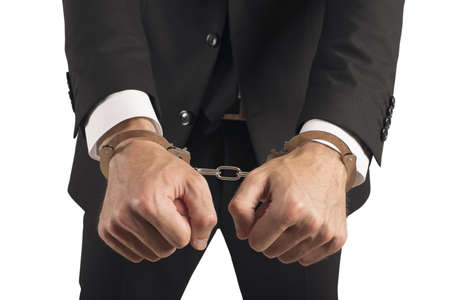 Concept of handcuffed businessman in jail Stock Photo - 21393833