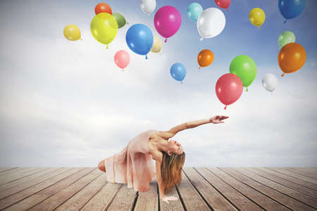 Young girl dance with colorful balloons Stock Photo - 21393492