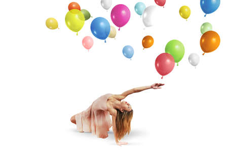Young girl dance with colorful balloons Stock Photo - 21393493