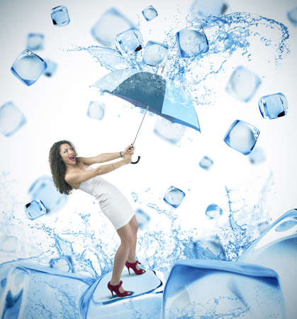 cooling: Girl and fresh ice cube fashion