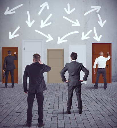 confused person: Concept of competition and difficuly on business Stock Photo