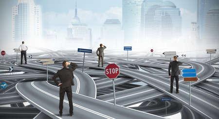 Konzept der verwirrten Weg von einem Geschäftsmann Standard-Bild