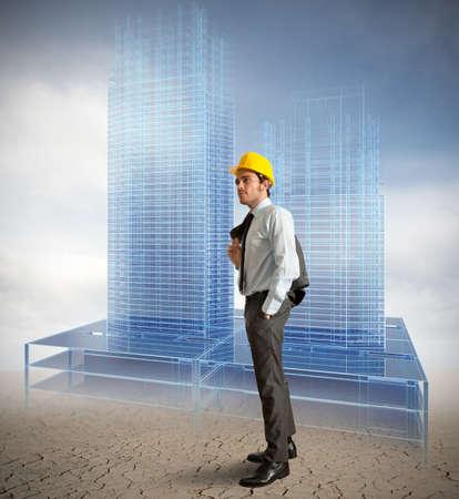 concept: Architect en project van moderne gebouwen Stockfoto