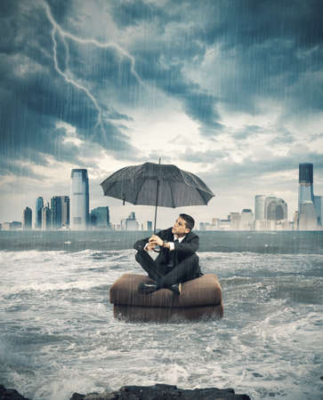 risky job: Concept of crisis storm in business