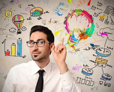 Businessman with new creative business idea Stock Photo - 21694740