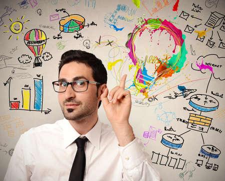 zeichnen: Geschäftsmann mit neuen kreativen Geschäftsidee Lizenzfreie Bilder