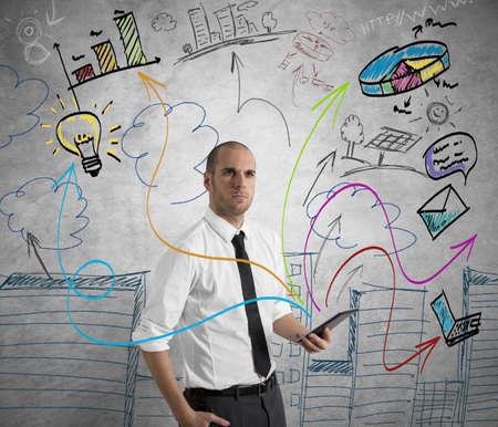 Concept van een zakenman op het werk met tablet
