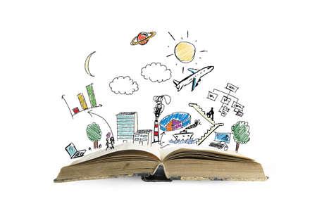 Boek met moderne zakelijke schets en het symbool Stockfoto