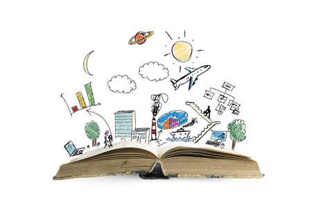 Book with modern business sketch and symbol