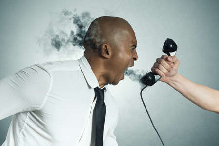 telephonist: Concept of stress of a businessman on the phone