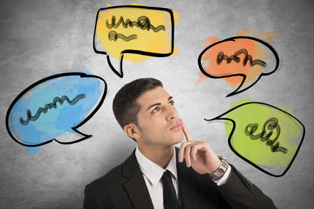 communicate: Chatear, buscar y concepto de red social con el pensamiento de negocios Foto de archivo