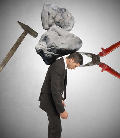 delusion: Stress concept of a businessman at work