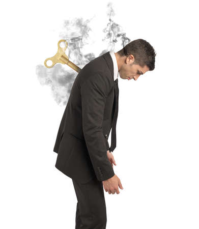 Stress-Konzept von einem Geschäftsmann bei der Arbeit Standard-Bild - 21999180