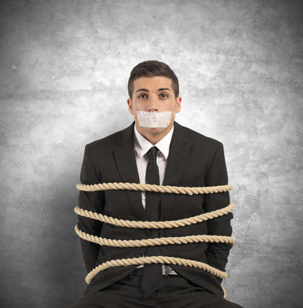 Concept of businessman with mobbing and stress at work Stock Photo - 21999185