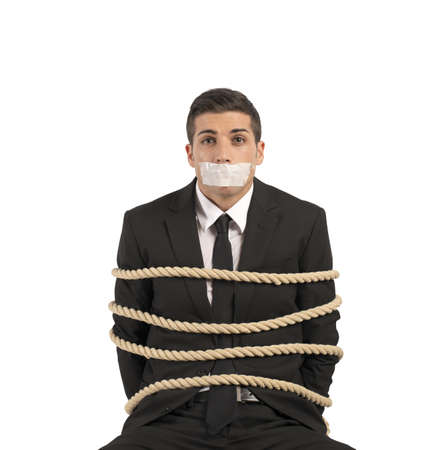 submissive: Concept of businessman with mobbing and stress at work