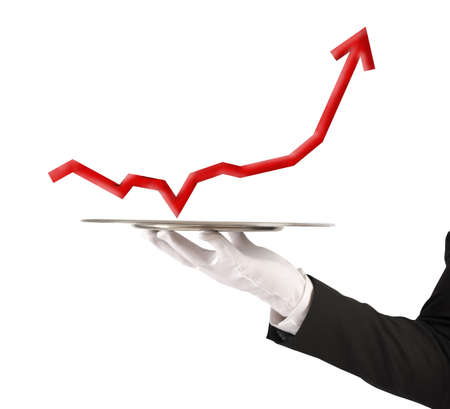 Businessman holds a tray with red statistics photo