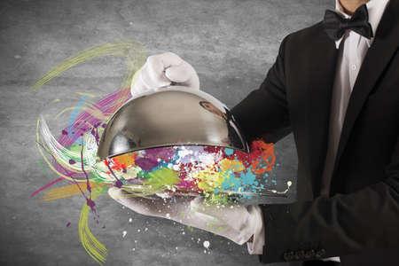 Concept van het kleurrijke Creative First Class service Stockfoto
