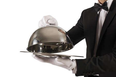 servicio domestico: Concepto de servicio de primera clase en el fondo blanco