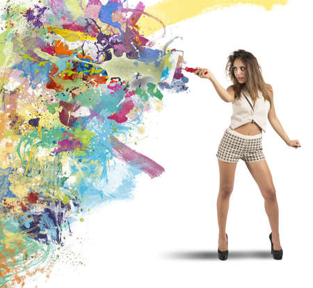 Concept of colorful fashion with girl drawing Stock Photo