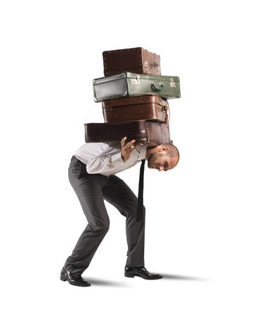 work load: Concept of difficult career of a businessman Stock Photo