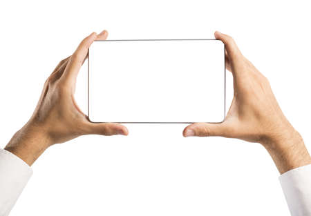blank screen: Man holding a tablet with blank screen