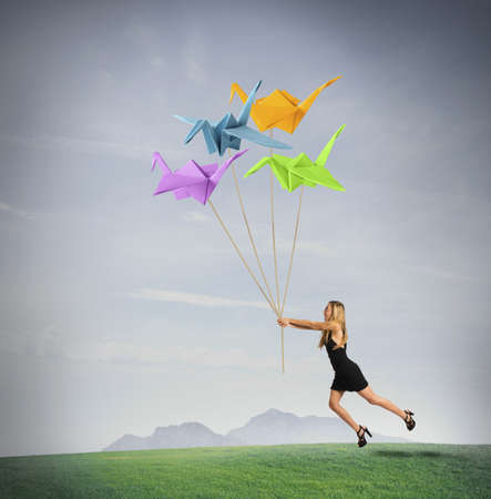 Concept of creativty in fashion style with origami Stock Photo - 22158024