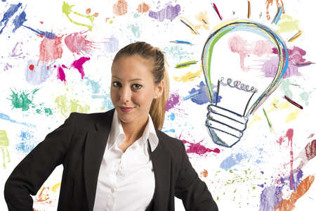 Concept of businesswoman with creative business idea Stock Photo - 22158058