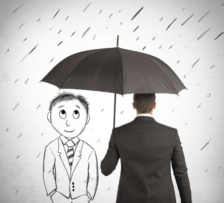 weather protection: Concept of assistance in your business with cartoon man Stock Photo