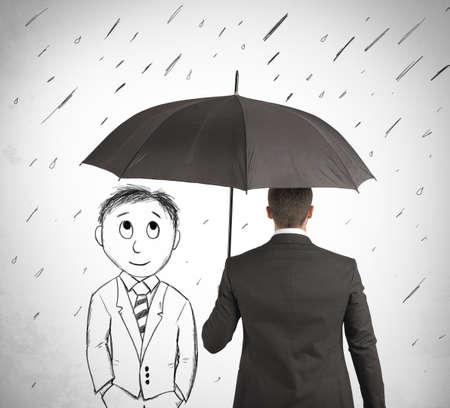 lluvia: Concepto de ayuda en su negocio con el hombre de dibujos animados