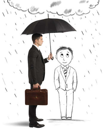 protection concept: Concept of assistance in your business with cartoon man Stock Photo