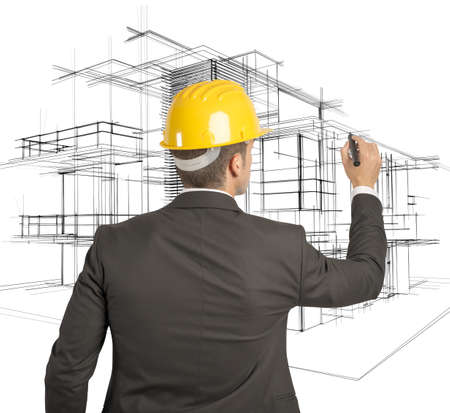 Architect drawing a futuristic sketch on a virual screen Stock Photo - 22158141
