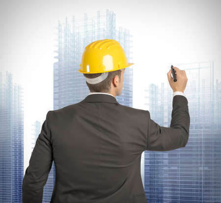 Architect drawing a futuristic sketch on a virual screen Stock Photo - 22158144