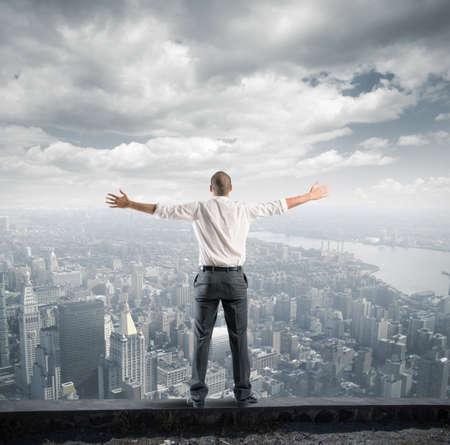 exito: Concepto de éxito de un hombre de negocios la libertad Foto de archivo