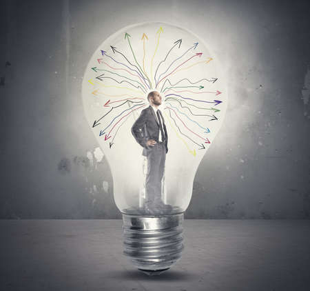 ideas problems: Concept of genius businessman tkinking  in a light bulb