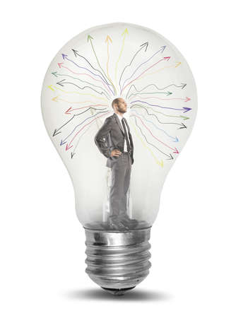 天才の実業家 tkinking が電球の概念 写真素材