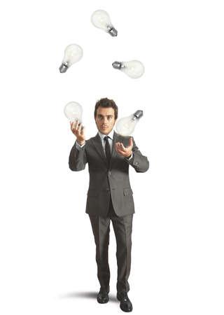 Concept of genius businessman like a juggler Stock Photo - 22244328