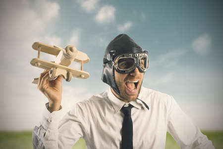 Concept of business in action with toy airplane Stock Photo - 22339075