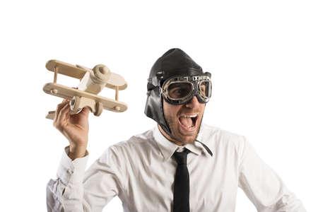 Concept van het bedrijfsleven in actie met speelgoed vliegtuig Stockfoto