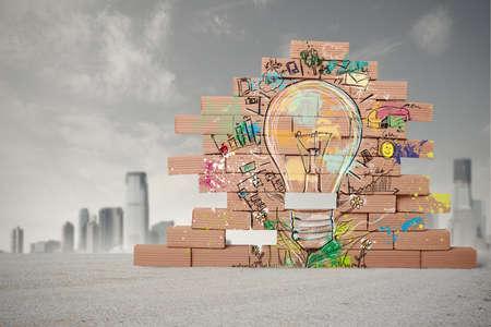 창의적인 사업 아이디어의 스케치의 개념