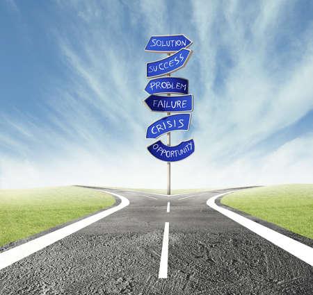 Concept van de juiste beslissing van een kruispunt