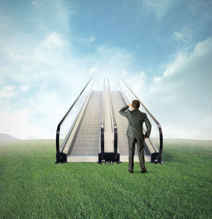 Concept of easy opportunity to success with escalator in a field