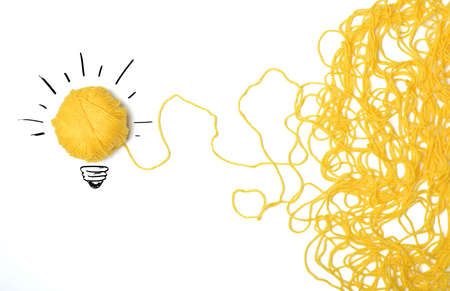 lightbulb idea: Concept of idea and innovation with wool ball