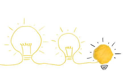 Concepto de idea y la innovación con la bola de lana