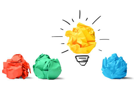 Concept van het idee en innovatie met papier bal Stockfoto